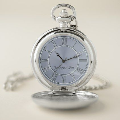 Simple Silver Personalized Pocket Watch - stylish gifts unique cool diy customize