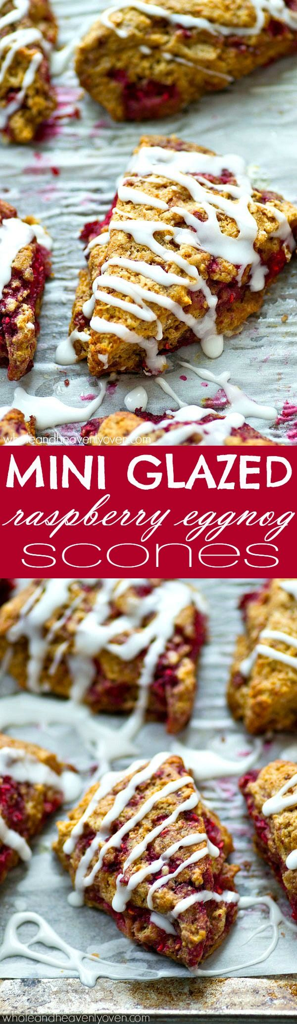 Mini Glazed Raspberry Eggnog Scones | Recipe