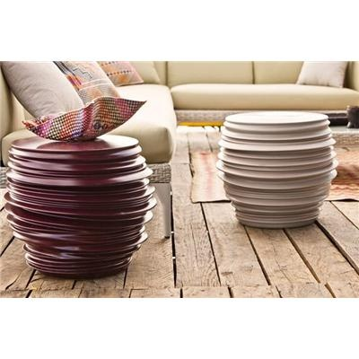 Dedon: Babylon Side Table; The irregular surfaces and asymmetrical forms of these dynamic side tables were actualy generated by a computer. Made of a special type of ceramic, this table is also available as an outdoor vase.