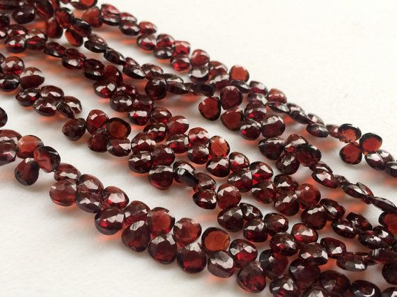 Garnet Beads Mozambique Garnet Faceted Heart by gemsforjewels