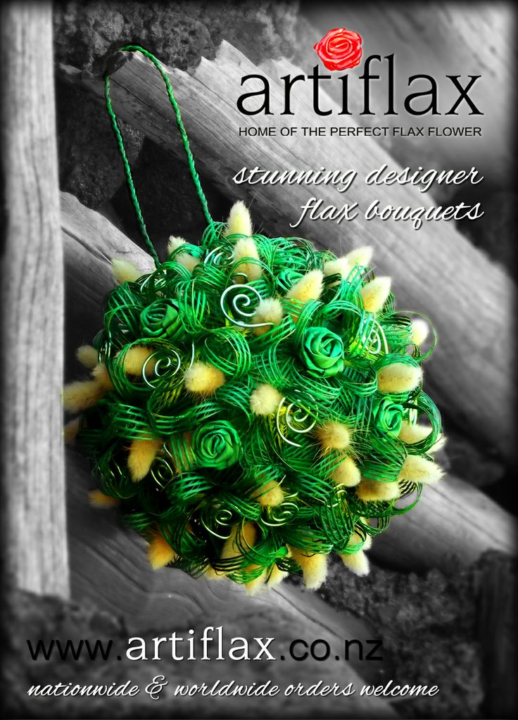Bride & Groom Ad - Issue 78  Green flax flower pomander (kissing ball) designed and hand made by Artiflax Limited