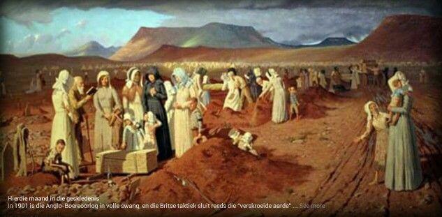 """1901, Anglo Boereoorlog in volle swang. Britse taktiek - """"Verskroeide aarde"""""""