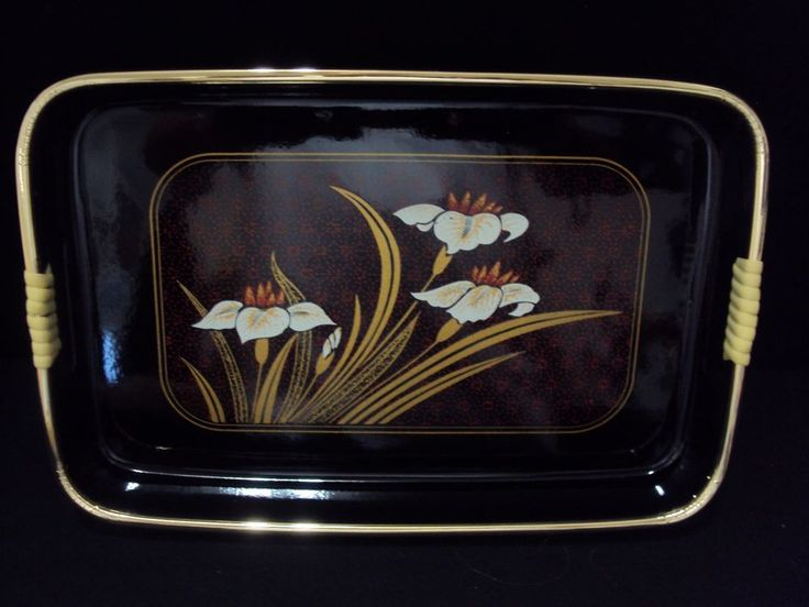 Hostess Asian Serving Trays Stylish Black & Gold, White Flower Deluxe Set of 3