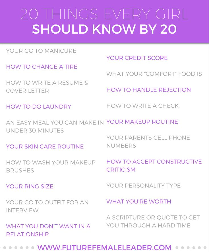 20 things every girl should know by 20