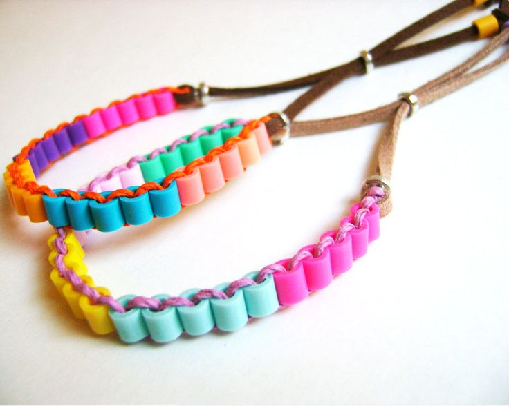 Colorblock Perler Tube Beads Friendship Bracelets door KnotSoFancy