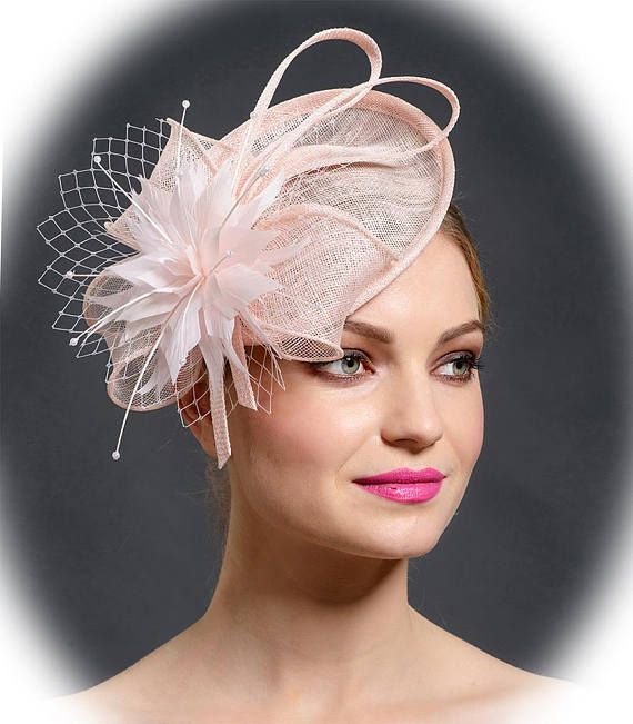 570d8a47 Blush pink saucer hat for spring and summer 2018 weddings and races by  Marge Iilane