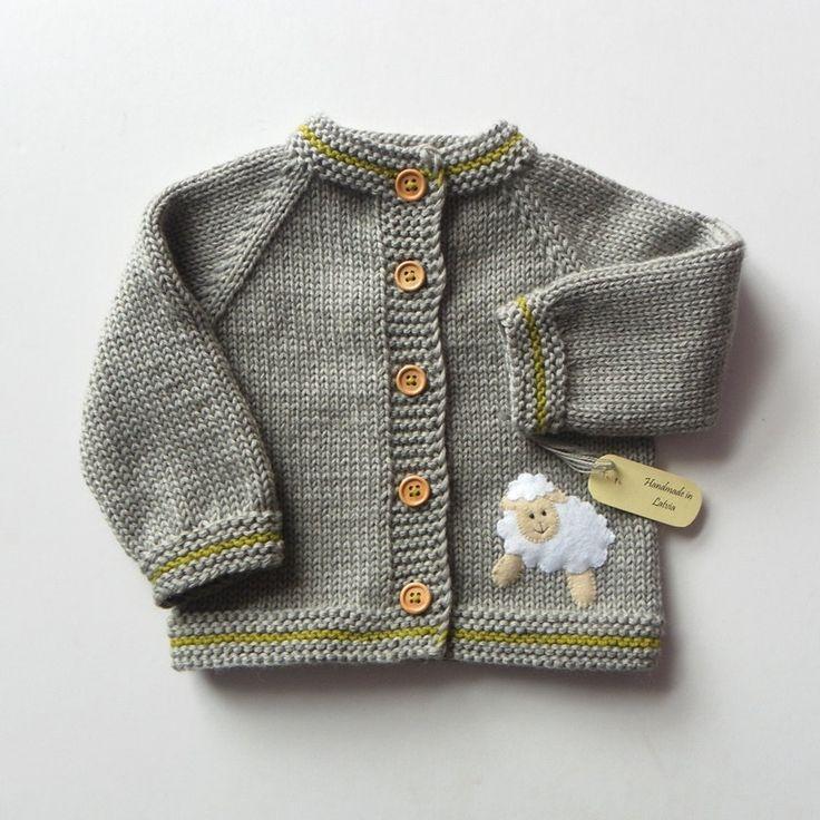 Stricken Kinder Jacke mit weißen Schafe grau Baby Merino