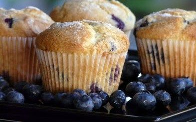 Kids' Favorite Blueberry Muffins - made with pancake mix as the base. I replaced the oil with apple sauce, no sugar, used juice in place of the water to sweeten, and added a touch of agave, replaced the blueberries with lemon and poppyseed. So basically I didn't do anything the recipe called for. Still turned out good but not as sweet which I prefer.