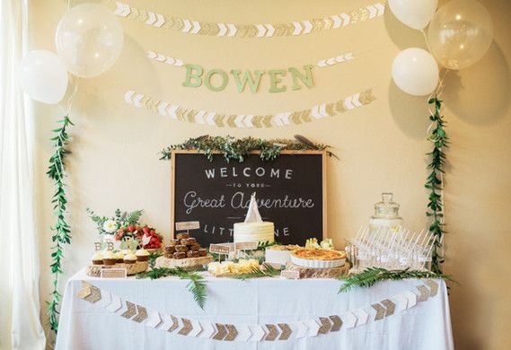 "Isn't the idea of welcoming a ""new little adventurer"" sooo lovely? That was the inspiration behind this shower planned + photographed by Kelly Leeves, who also has the prettiest food-focused blog, Lee"
