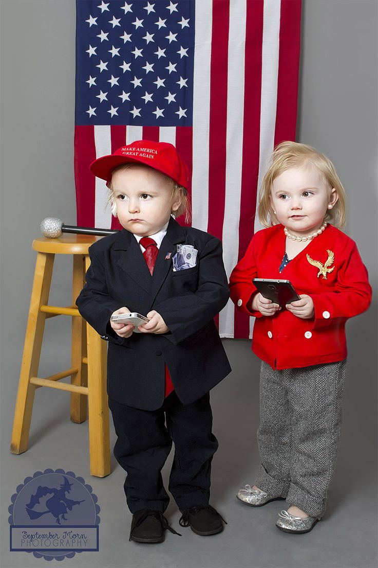 Trump and Hillary for quick, easy, DIY costume. Funny toddler costumes. Stellaween
