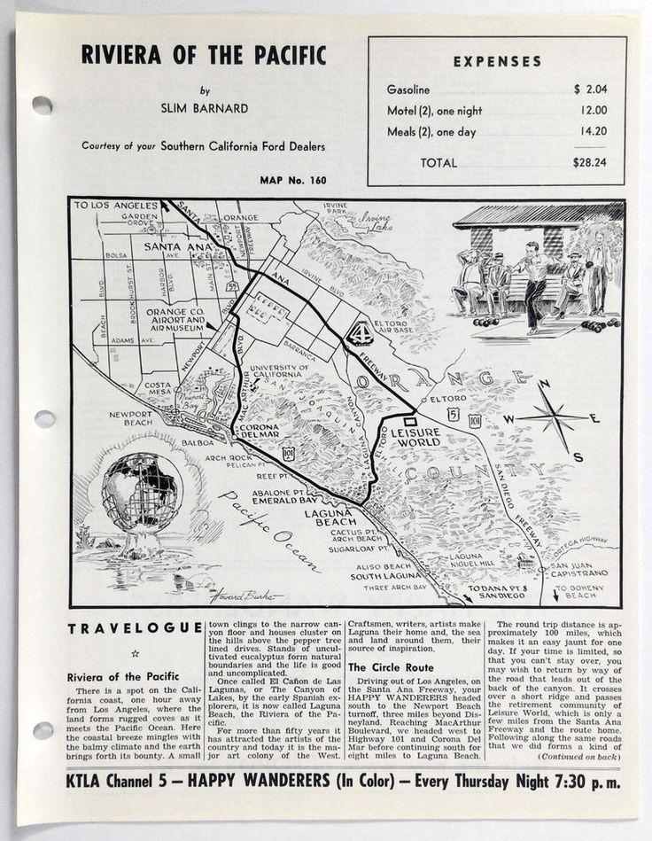 1960's LAGUNA BEACH CA Happy Wanderers Travelogue Slim Barnard Map KNBC Ford
