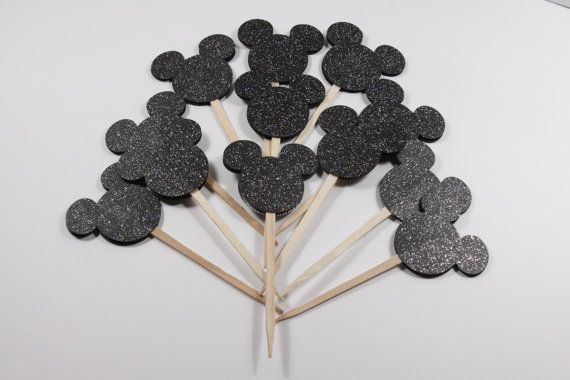 12 Black Glitter Mickey Ears Cupcake Toppers/Tooth Picks/Food Picks/Party Supplies No. 196