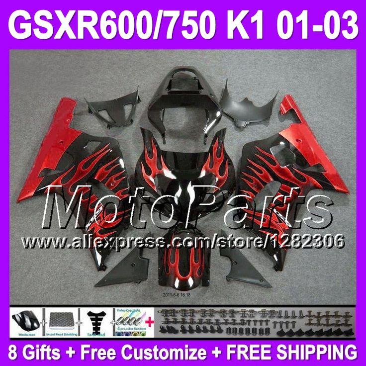 Красный черный + капот для SUZUKI K1 GSXR600 01 02 03 # 4232 GSXR750 GSXR 600 750 GSX R600 R750 2001 2002 2003 красный пламя K1 зализах