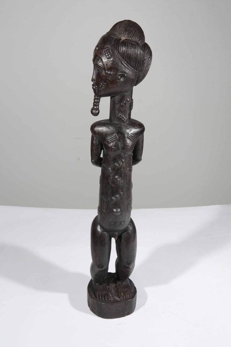 Statue africaine de gardien de servantes de roi Baoule de Cote d Ivoire 11-2011-35 : Galerie Art Africain : masques et statues africaines, décoration et arts primitifs Afrique