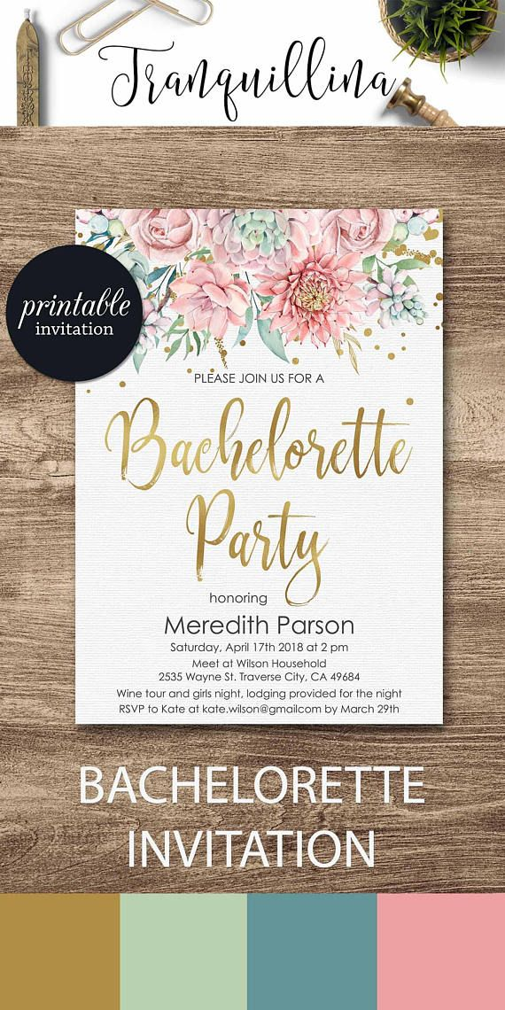 sunflower wedding invitations printable%0A Bachelorette Invitation Hens Party Invitation Floral Bachelorette Party  Invitation  Printable Bachelorette Invitation Pink hens invite tranq