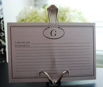 This would be a great wedding shower gift.  Give her a bunch of monogrammed recipe cards with this card stand!  Too cute!