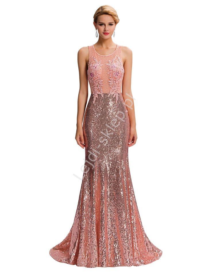 Sukienka wieczorowa z cekinami i gipiurą