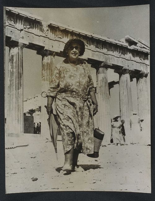 Agatha Christie visits the Acropolis, 1958.