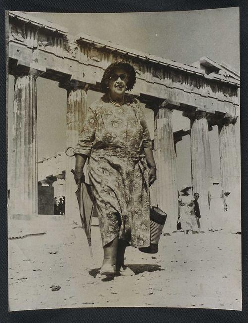 Agatha Christie visits the Acropolis, 1958, Greece