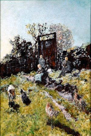 Landscape with figures and goats, Adolphe-Joseph-Thomas Monticelli