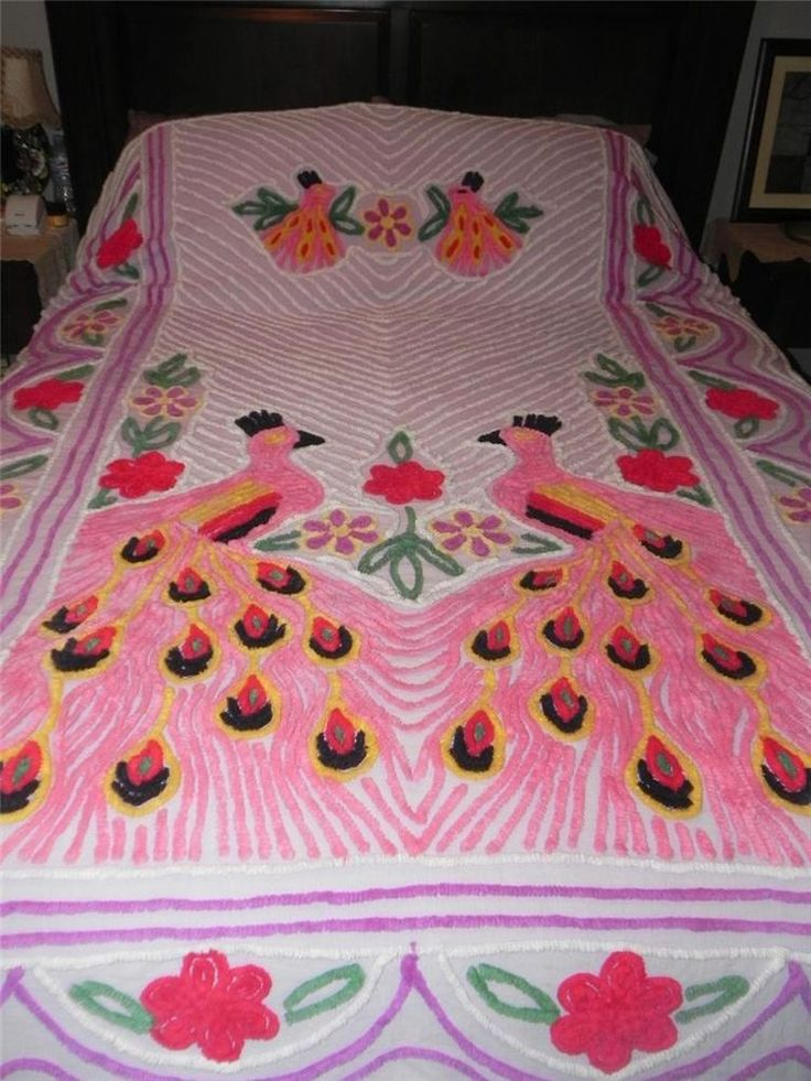 Large Vintage Chenille Bedspread~Purple/Pink Double PEACOCK Cutter Craft~91x100
