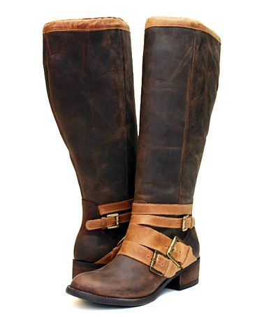 Look what I found on #zulily! Tobacco Santa Fe Extra Wide-Calf Leather Boot #zulilyfinds