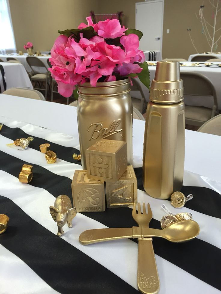 Kate Spade Inspired Baby Shower- Black, white, pink, gold.