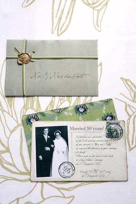 Wedding anniversary lunch - post card invitations