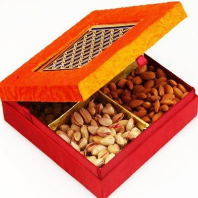 Diwali Dry Fruits - Ghasitaram Gifts Orange Laser Dry Fruit box Box (Orange,Rectangle) on October 22 2016. Check details and Buy Online, through PaisaOne.