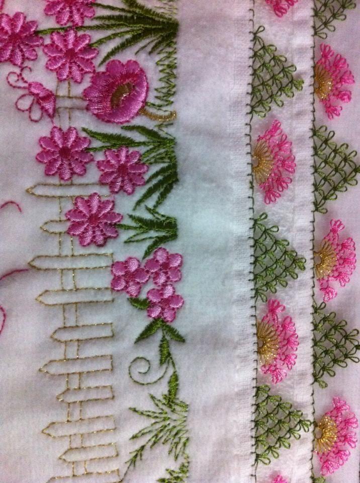Pembe havlu kenarı motifleri