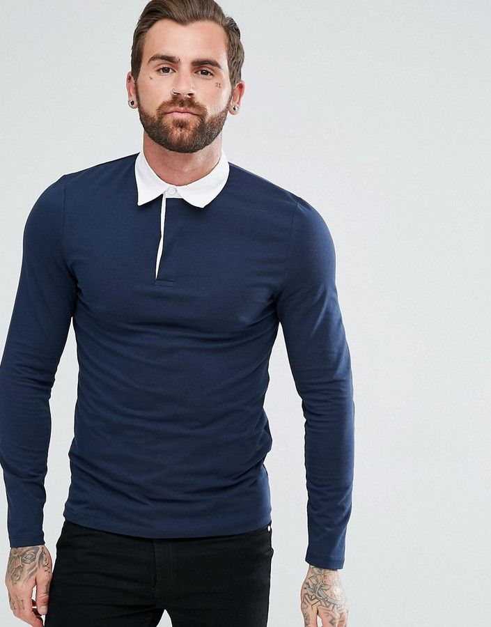 ASOS Muscle Long Sleeve Rugby Polo Shirt In Navy Klick to see the Price #men#fashion#male#style#menfashion#menwear#menstyle#clothes #boots #man #ad