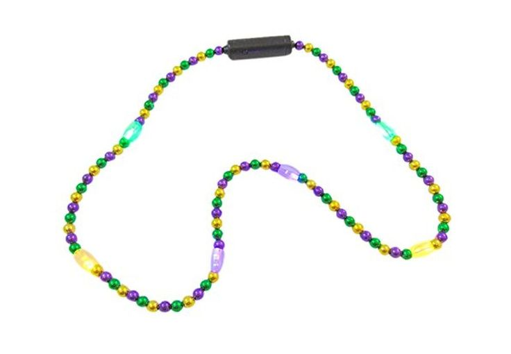 Mardi Gras Flashing LED Light Up Bead Necklace in Colors Golden, Purple &... New #88Merchandise
