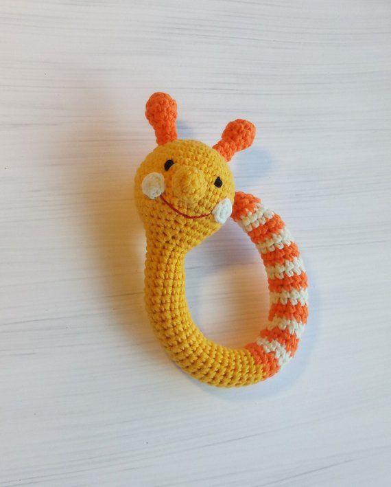 Crochet rattle first toy for newborn, knitted beanbag little snail, crochet amigurumi yellow snail, organic nursery rattle