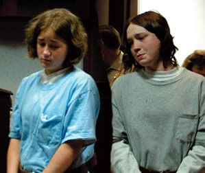 Holly Harvey and Sandra Ketchum, both teenage girls accused of stabbing one of the girl's grandparents to death. Holly 15, and Sandra 16, were both lesbian and killed the grandparents because they disapproved of the relationship. The grandparents was stabbed multiple times on August 2, 2004 in their home. Both sentenced to two life sentences in prison on April 13, 2005.
