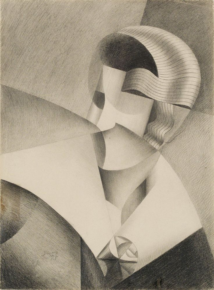 Marthe Donas, Cubist Head, 1917, Pencil on paper