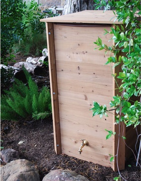 Square Spruce 70 Gallon Rain Barrel / Rain Catcher - irrigation equipment - Julie Casey