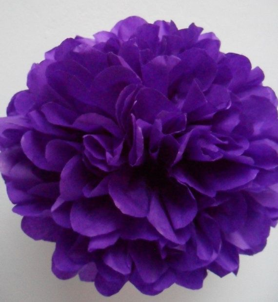 1 Dark Violet Tissue Paper Pom Pom  Wedding by PaperPomPoms