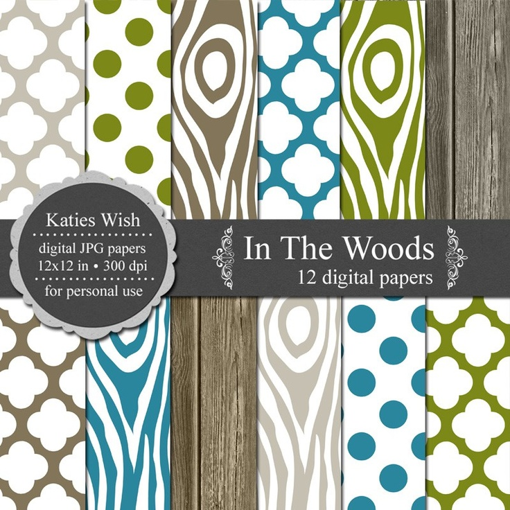 In The Woods Digital Paper Kit - Instant Download. $5.00, via Etsy.