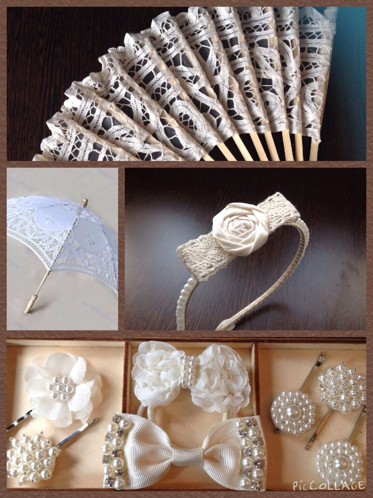Handmade bespoke luxury ivory wedding accessories from Lilly Dilly's  #wedding #accessories #bespoke #fan #hair #parasol #pearl #vintage #lace #ivory