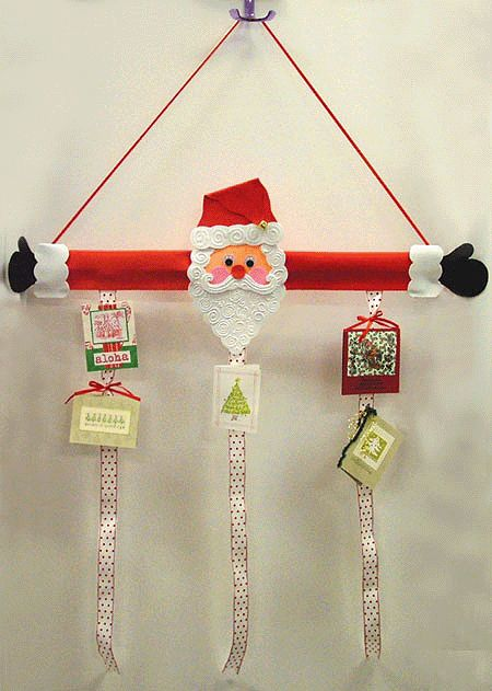 Santa Card Holder- do self portraits and hang artwork from the lessons on them