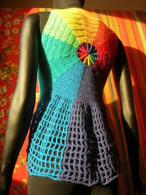 Rainbow Waves Circle Crochet Vest With Flower Center by babukatorium, via Flickr