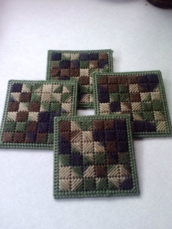 Camo Colored Plastic Canvas Coasters by GiftsbyKris on Etsy