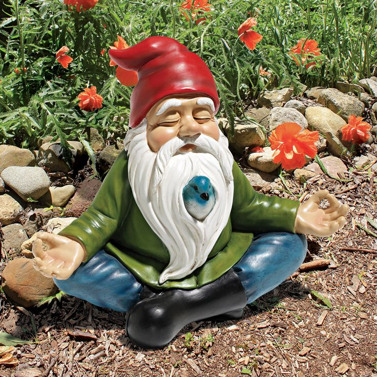 While the rest of the garden gnomes are traveling around the world, this cool new Zen Garden Gnome has gotten into the lotus position and is peacefully meditating.