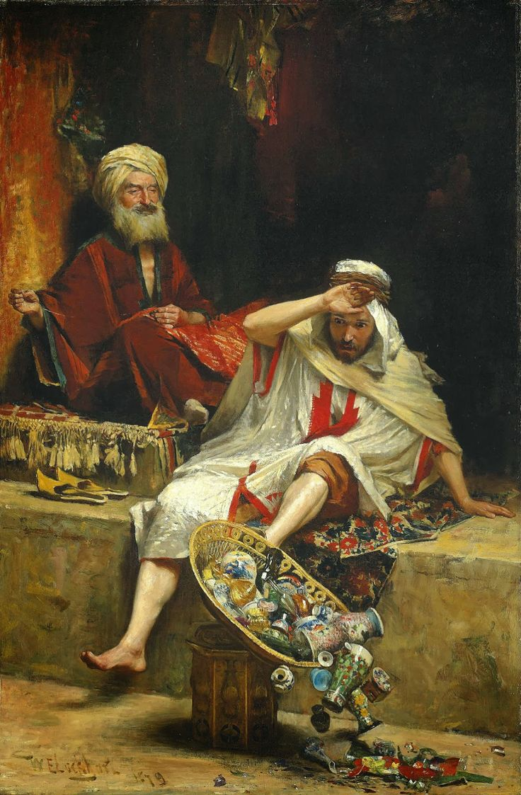 'Alnaschar's Fortune, Arabian Nights', 1879 by William Ewart Lockhart (Scottish 1846-1900)