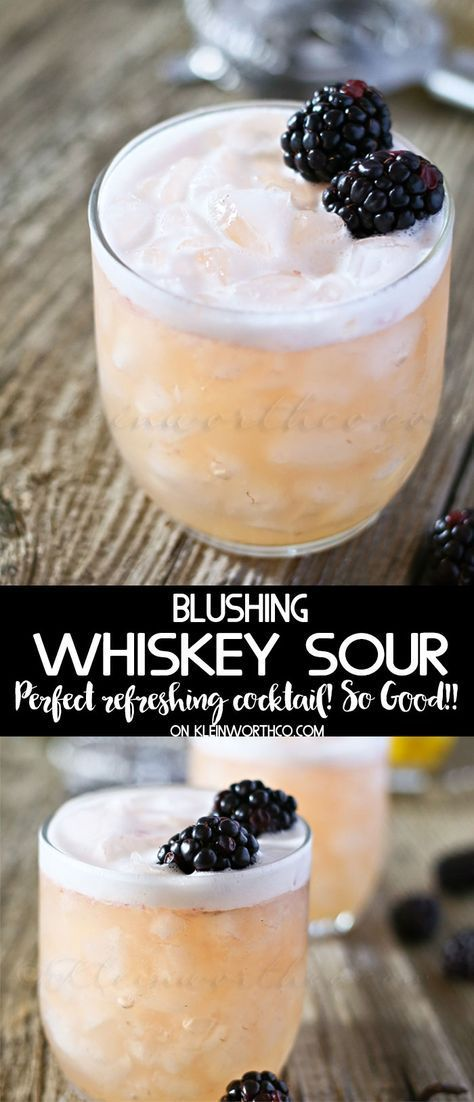 Blushing Whiskey Sour is the perfect cocktail recipe for St Patricks Day, Easter…