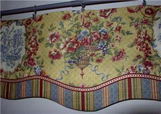 french country window treatments | Layered Scalloped VALANCE French Country Waverly Red Gold Toile Stripe