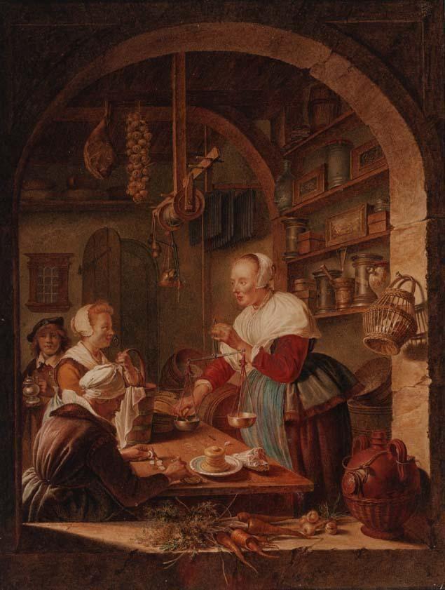 Navolger. Jacob Cats. Kruidenierswinkel. 1780. Particulier bezit. Naar Gerard Dou: de kruidenierswinkel. 1647