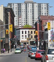 Queen St, Kitchener, Ontario, coming up on Charles St with King St just beyond.