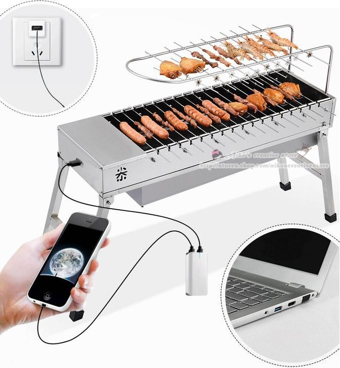 Portable Outdoor Multifunction Stainless Steel Electric BBQ Grill Charcoal Stove