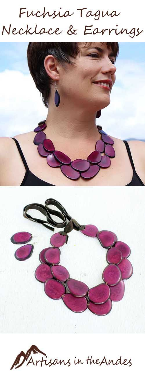 You will feel invincible wearing this bold tagua necklace. The fuchsia color is deep and vibrant, pulsing with life. #momlife #fairtrade #fairtradefashion #shophandmade #gypsystyle